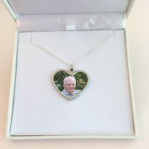 Memorial Necklace with Photo Heart Pendant, Sterling Silver Chain
